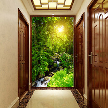 цены на Customized medium-size 3D mural wallpaper Green Space expansion pattern with sunshine forest path the corridor enter hall  в интернет-магазинах