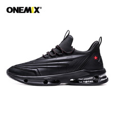 ONEMIX Running Shoes Men 270 Leather Shock Absorption Cushion Soft Energy Midsole Outdoor Sneakers Black Jogging