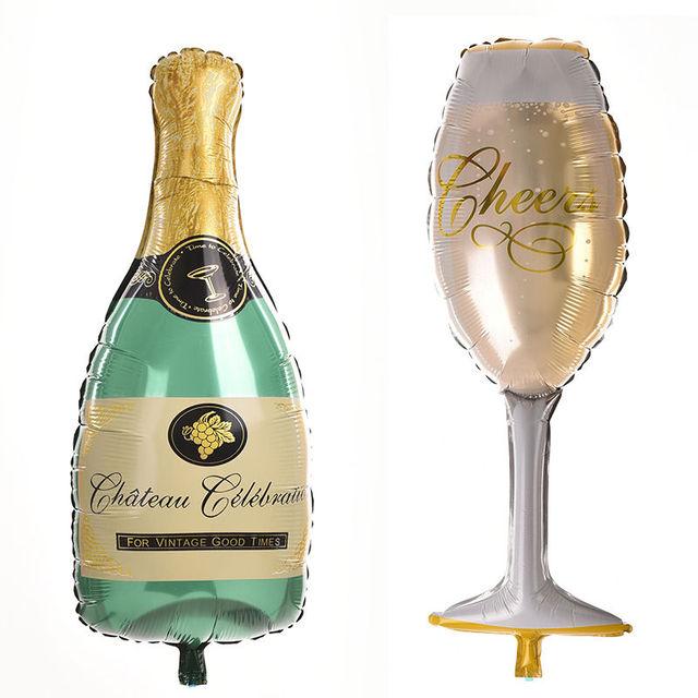 1 Pz Bottiglia Di Champagne Di Vetro Della Stagnola Palloncini Buon