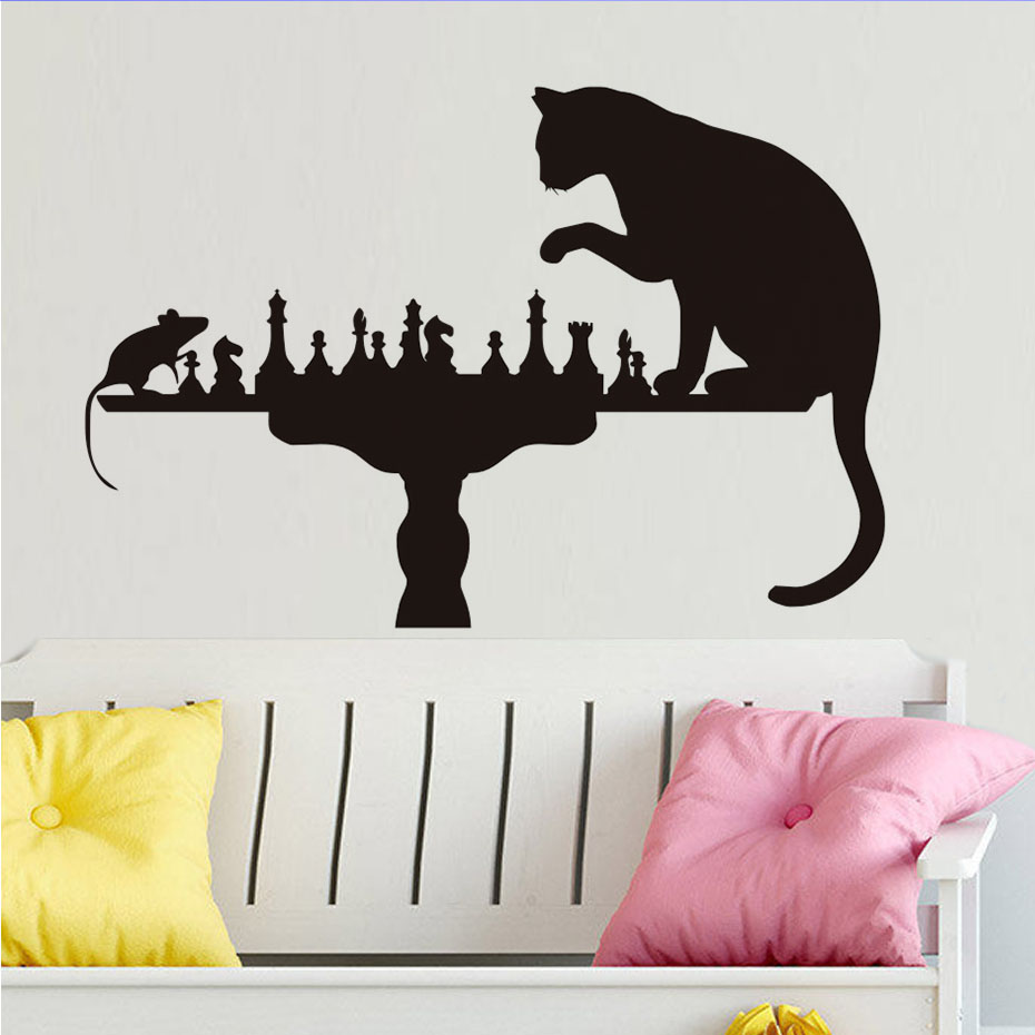 Cat playing chess with mouse wall stickers home decor vinyl cat playing chess with mouse wall stickers home decor vinyl removable creative wall decals animals self adhesive wallpaper in wall stickers from home amipublicfo Gallery