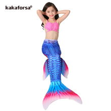 Kakaforsa New 3PCS Kids Girls Mermaid Tail Bikini Set Cute Swimming Suit Lovely Princess Children Baby Mermaid Swimsuit Swimwear