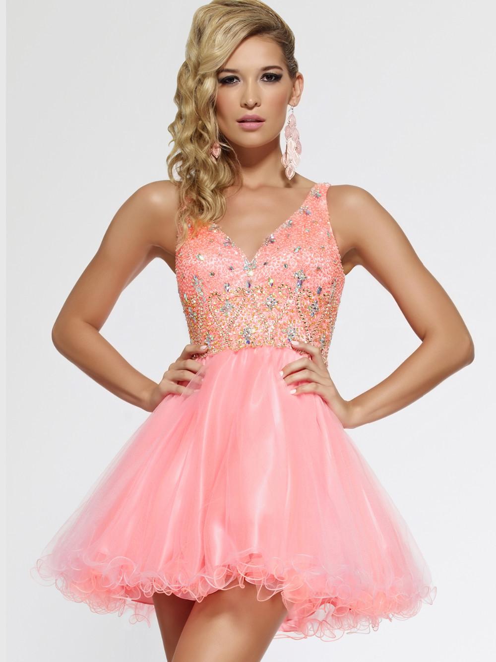 Chic 2015 Coral vestidos cortos de cóctel con cristal pura V cuello ...