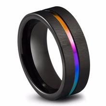 ФОТО Queenwish 8mm Black Tungsten Carbide Promise Rings Rainbow Anodized Groove Center Couples Vintage Engagement Rings
