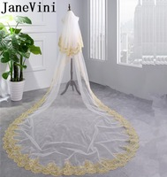 JaneVini 2018 Two Layers Long Bridal Veils Gold Lace Edge Sequins Wedding Veil with Comb White Cathedral Length Sluier Met Kant