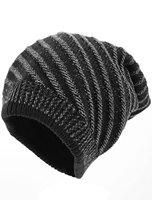 Man Textured Design Stripes Pattern Stretchy Knitted Beanie Hat