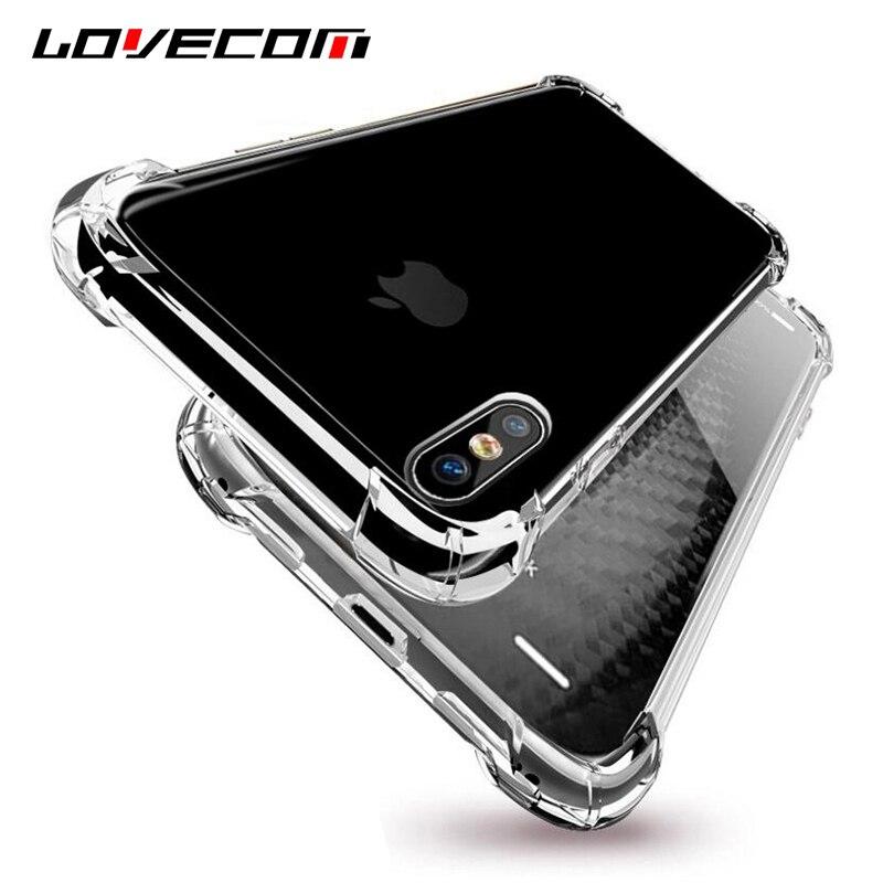 Lovecom для IPhone X 10 Чехол прозрачный силиконовый силиконовые антидетонационных Телефонные Чехлы для iphonex Защитная крышка Капа сумки