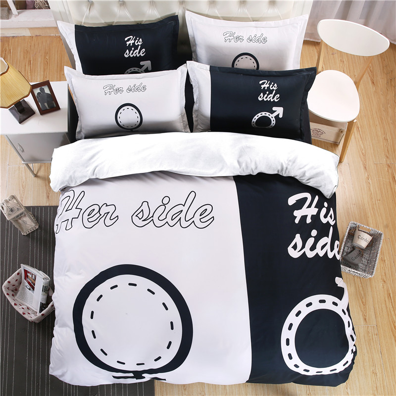 ᐅmodern white and black his her side bedding set duvet cover bed