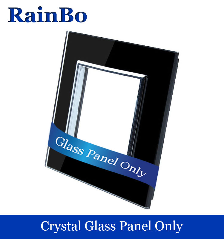 Free shipping Luxury Crystal Double Glass Panel 1 Frames Wall Switch socket Panel  80mm*80mm EU Standard DIY Accessories welaik free shipping smart home us au standard wall light touch switch ac220v ac110v 1gang 1way white crystal glass panel