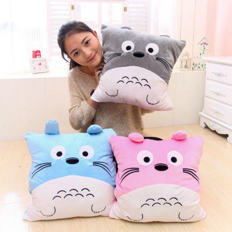 Cartoon My Neighbor Totoro plush pillow bear toys for children gift Contain Plush Flannel blanket Bedroom cushion cartoon dog plush pillow shiba inu toys for children gift contain plush flannel blanket bedroom cushion