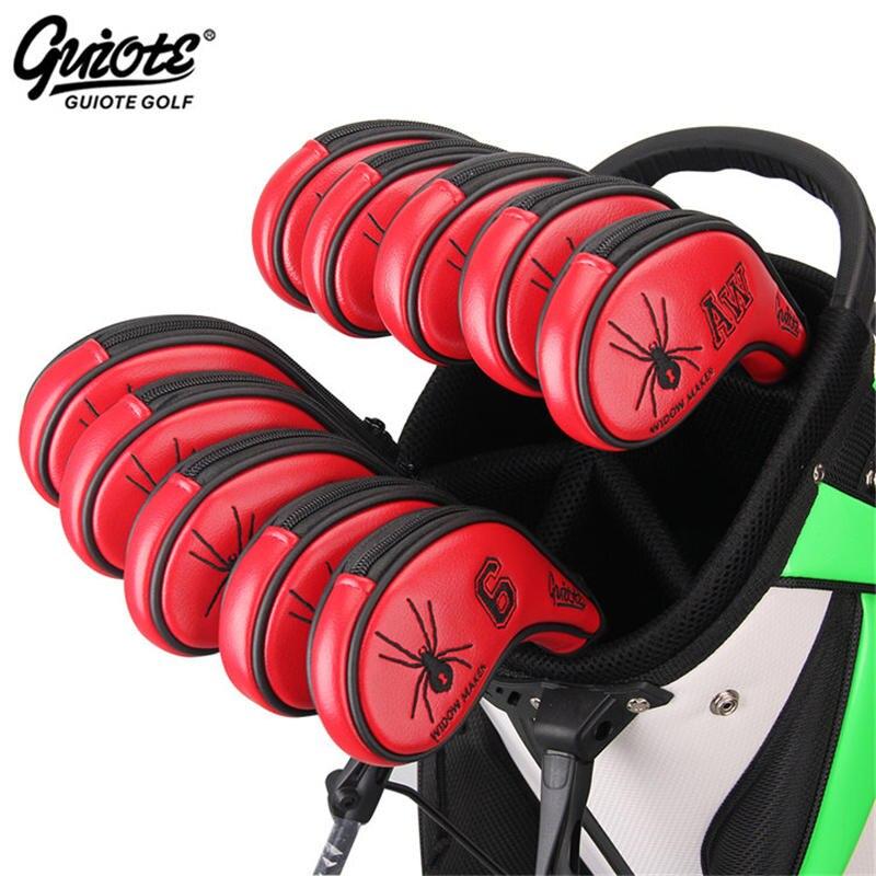 [3 couleurs] Spider Golf fers couvre-chef Zipper Golf fer couverture ensemble # 3-9PAS broderie conception Zipper série livraison gratuite