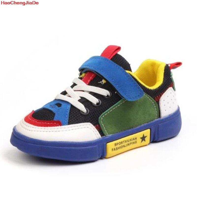 HaoChengJiaDe Kids Sports Shoes Children Casual Boys Patchwork Sneaker Fashion Light Breathable Girls Shoes Anti-Slippery Rubber