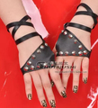 New fashion womens Sexy bandage gloves female fashion hip-hop punk gloves ds rivets pu leather gloves sexy fingerless glove