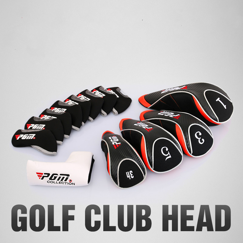 Black Golf Head Covers Driver 1 3 5 7 Putter Fairway Woods Headcovers Metal Neoprene Traditional Plain Protective Covers