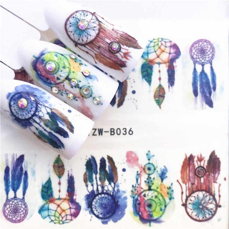 1 Pcs Tengkorak Halloween Tanaman Stiker Kuku Air Decals Wanita Putih Bunga Cat Butterfly Transfer Nail Art Dekorasi M2b8v6