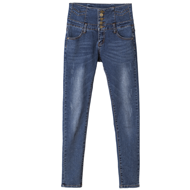 New 2017 Denim Pants Fashion Women High Waist Skinny Stretch Jean Female Spring Autumn Jeans Feet Pantalones Mujer 2017 double breasted denim pants women high waist skinny stretch jean female spring jeans pantalones mujer plus size bottoms