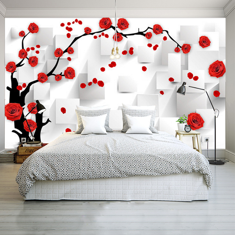 Customize Photo Wallpaper Rose 3D Mural Wall Paper For Living Room Wallpaper TV Background Home Decor Papel De Parede 3D spring abundant flowers rich large mural wallpaper living room bedroom wallpaper painting tv background wall 3d wallpaper