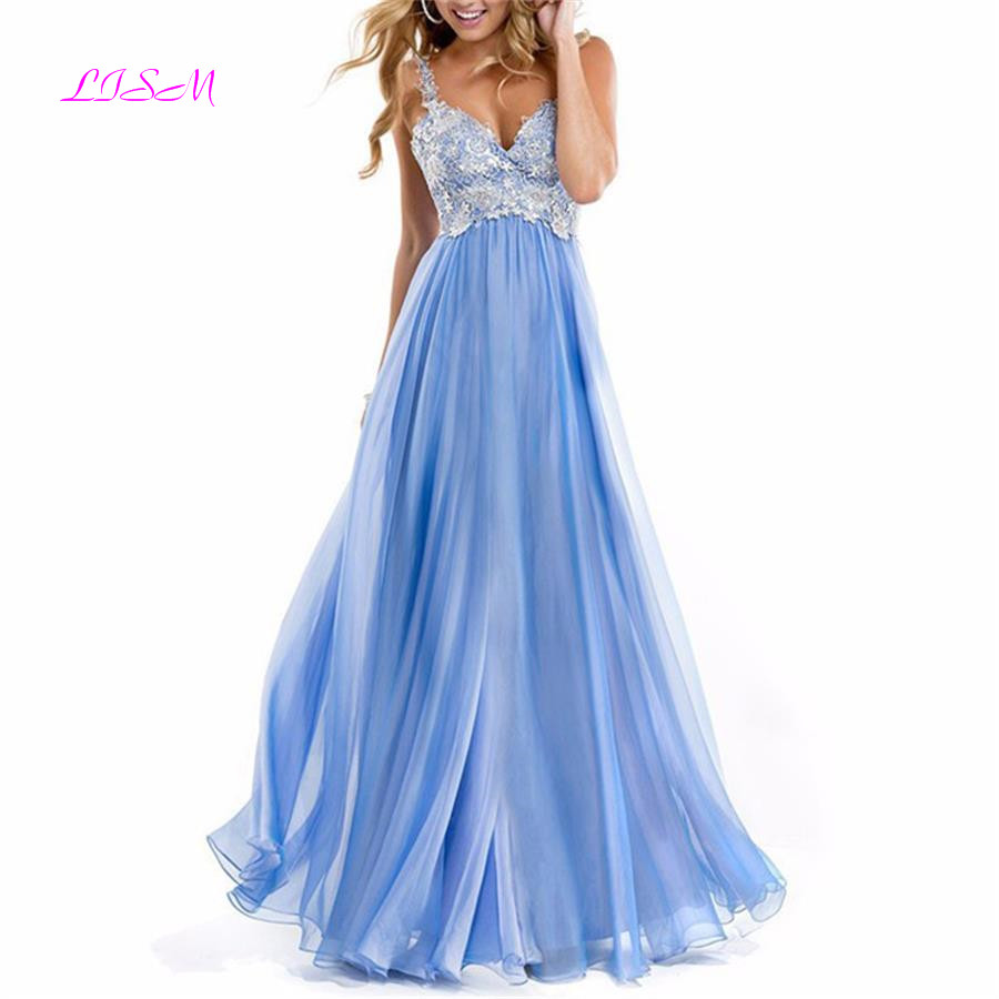 A Line Chiffon Long Plus Size Prom Dresses Sweetheart Straps Lace Appliqued Formal Gowns Sexy Backless Long Evening Party Wears