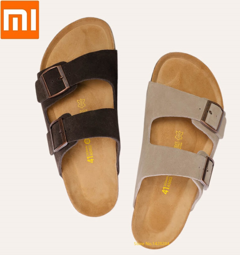 Xiaomi youpin Aishoes men summer Fashion Wild Cool Cork sandals Soft cowhide Beach Ssandals Casual non