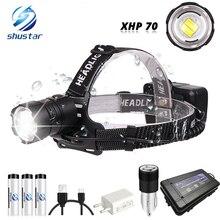 Mạnh mẽ XHP70 ĐÈN LED Chống Nước Đèn Pha Hỗ Trợ zoom 3 chế độ chuyển đổi Sạc bằng 3 x Pin 18650 cho săn bắn, câu Cá