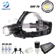 كشاف أمامي قوي XHP70 LED مضاد للماء يدعم تكبير 3 أوضاع تبديل مدعوم من 3x18650 بطاريات للصيد والصيد