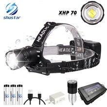 Мощный светодиодный налобный фонарь xhp70 водонепроницаемый