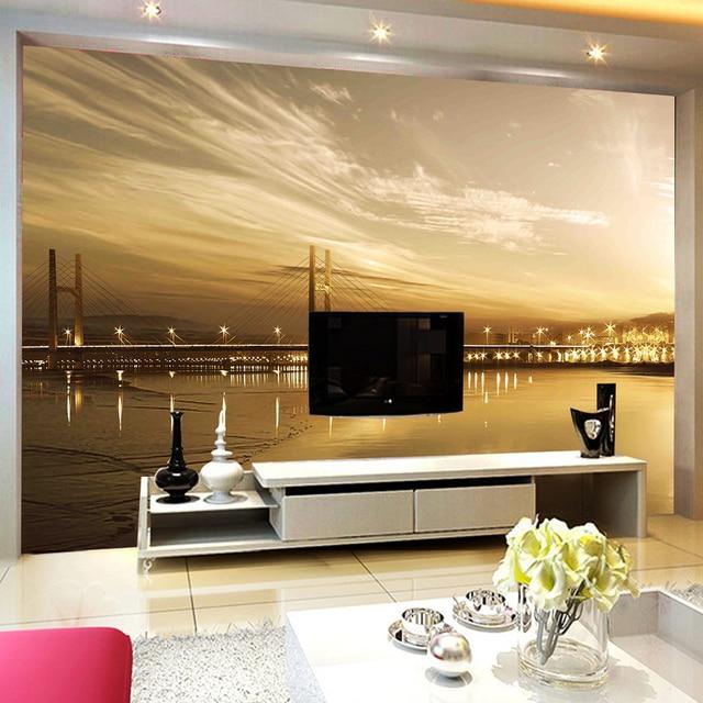 Nach Poster Foto Tapete Für Wohnzimmer Sofa TV Hintergrund Moderne HD Stadt  Nacht Brücke Große Wandbild