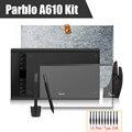 2 Plumas Parblo A610 Gráficos de Dibujo Tableta Digital con Bolsa de Revestimiento de Lana + Película Protectora + Dedo Guante + 10 Puntas de lápiz