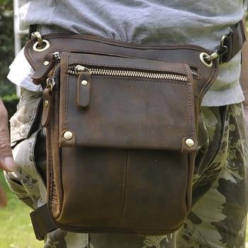 Bolsas de mensajero de hombro riñonera de cadera y pierna de motociclista para hombre, bolsa de cintura de piel de vaca de gran calidad Crazy Horse/aceite de cera