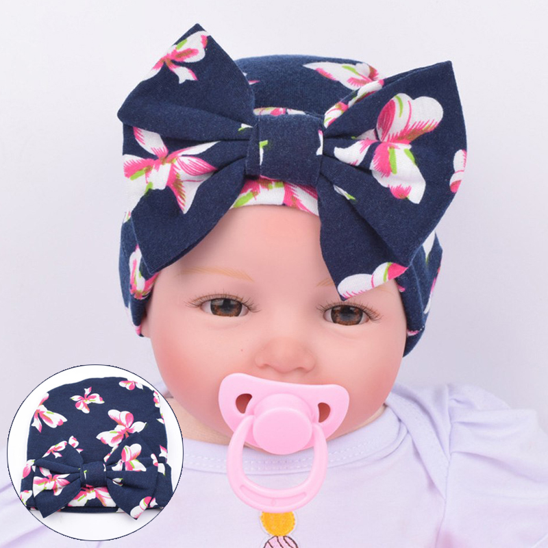 e042ef7230a Newborn Baby Hats Flower Bowknot hat for a girl kids Hospital Caps  Comfortably Cotton Hat Accessories Newborn for Photography