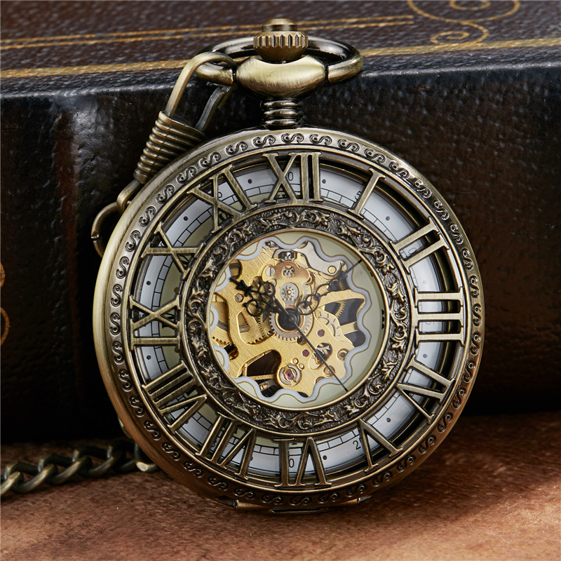 Vintage Roman Dial Mehanical Pocket Watch FOB Chain Smooth Golden Hollow Skeleton Hand Wind Mechanical Mens Womens Watch