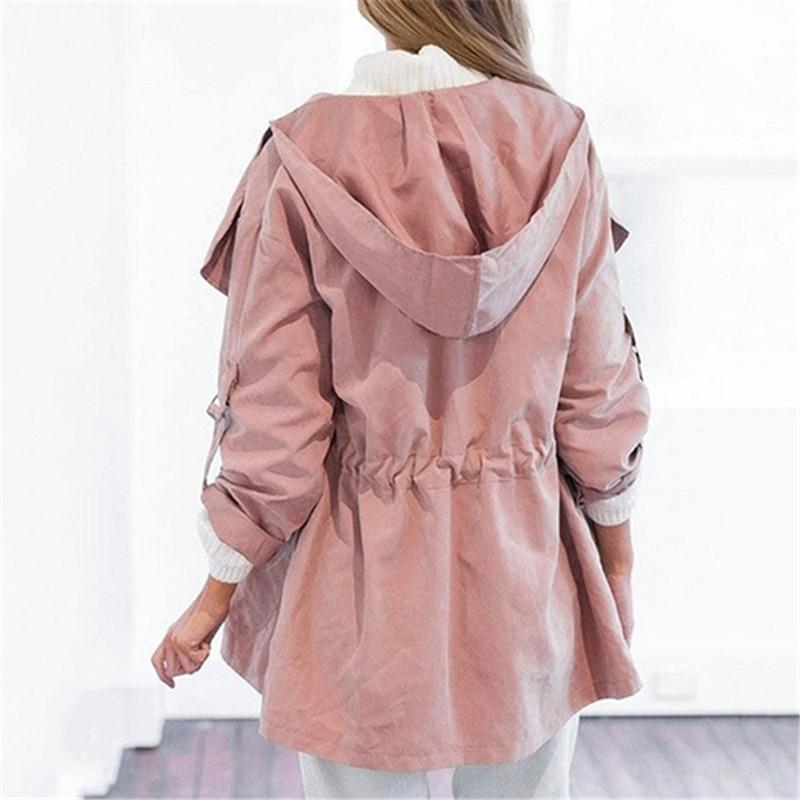 HTB1l2umKaSWBuNjSsrbq6y0mVXa3 Autumn Women's Casual Hooded Windbreaker Coat Turndown Collar Overcoat Outerwear Coat Solid Color Trench Belt Slim Tops Coat