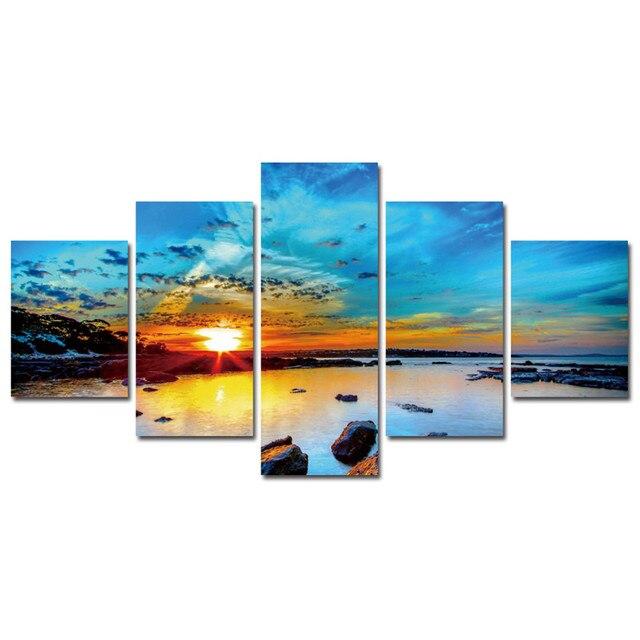 Hd Print 5 Pcs Art Sunrise Sea Beach Painting Home Wall Decor On Canvas