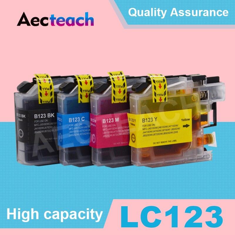 LC123 принтер Полный чернильный картридж для принтера Brother картриджи DCP-J4110DW J132W J152W J552DW J752DW J172W J650DW J6720DW с чипом