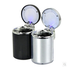 1 pcs Stainless steel Portable LED Car Ashtray  Universal with Mini Holder Cup