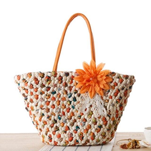 e8a4decb39e9 Новые цветы соломенная сумка в духе колледжа летние каникулы Мода вязать  Сумка дорожная пляжная сумка