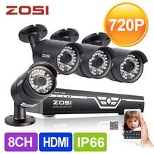 ZOSI HD 8CH CCTV Sistema 720 P HDMI DVR 4 UNIDS 1.0MP 1500TVL IR Al Aire Libre Video Vigilancia Sistema de Cámaras de Seguridad Kit de 8 canales DVR