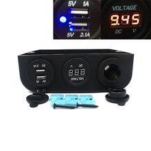 НОВЫЙ 12 В Авто Прикуриватель Вольтметр USB Зарядное Устройство Adapte