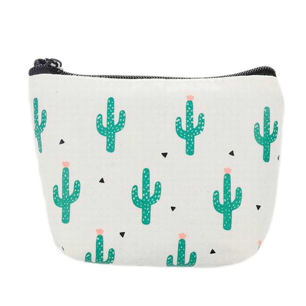 Lindo bolso de la moneda de la lona Cactus el bolso del soporte del columpio pequeño monedero de la tarjeta del monedero de la cremallera caja de la llave del dinero Clip