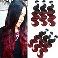 8A Ombre Brazilian Hair Body Wave Two Tone Black Red Ombre Brazilian Remy Hair Weave Bundle Virgin Ombre Human Hair Extensions