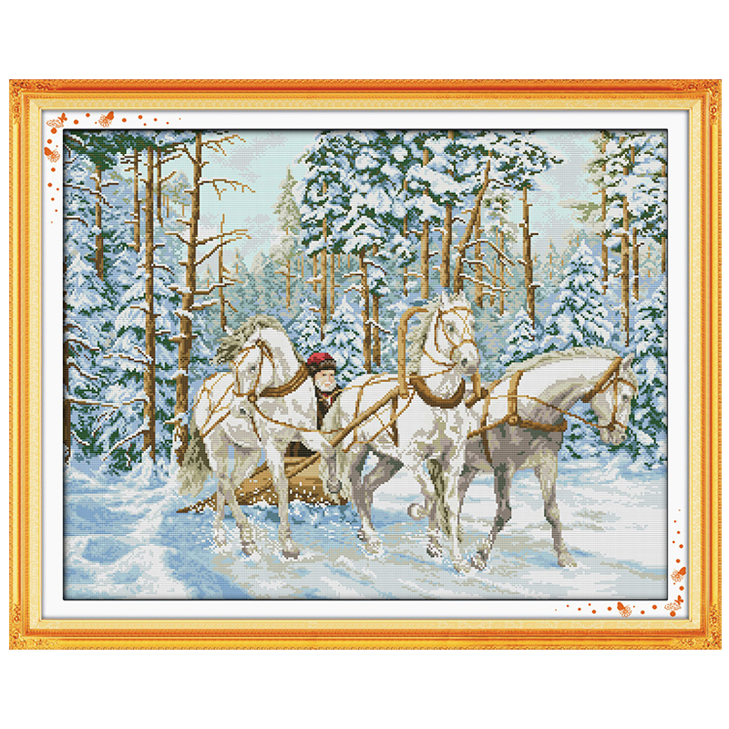 The Cart Go Through Snow Counted Cross Stitch 11 14CT Cross Stitch Sets landscape Cross Stitch Kits Embroidery Needlework