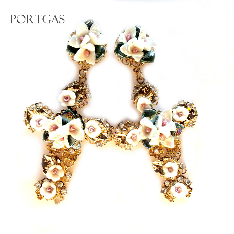 gran selección de b3564 be586 US $9.99 |Big large Cross Dangle Earrings retro Pendientes cruz pendientes  barrocos brincos grandes fashion para mulheres resin flowers-in Drop ...