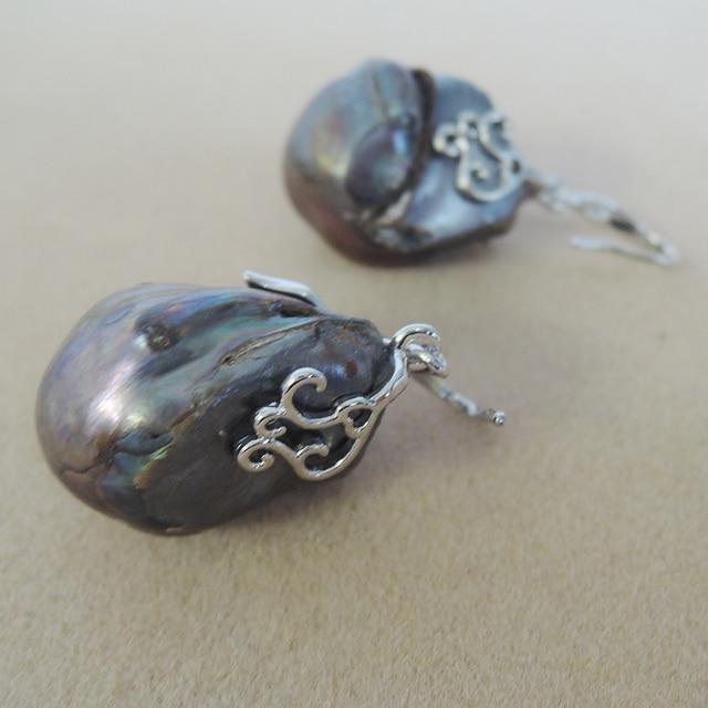 Boucle doreille en perles deau douce 100% nature avec crochet en argent 925-perle baroque AA, grande boucle doreille en perles baroques 15-25mm