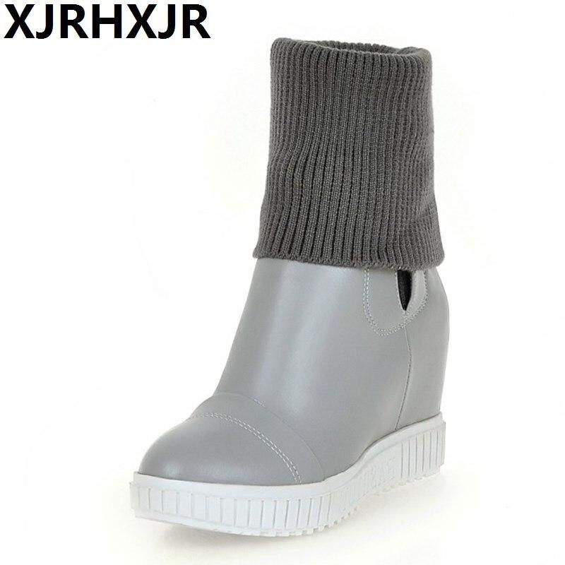 XJRHXJR Autumn Winter Women Sweater Boots 2018 Woman Platform Pump Short Boots Shoe Height Increase Ladies High Heels Shoes34-43 цена