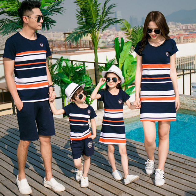 baaa8c078270 Detail Feedback Questions about Family Matching Clothing fashion Striped Summer  T shirt Outfits Mother And Daughter Dresses And Father Son Baby Boy Girl on  ...
