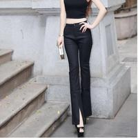 2017 Summer New Women Office Work Flare Pants White Black Ladies Business Wear High Waist Front