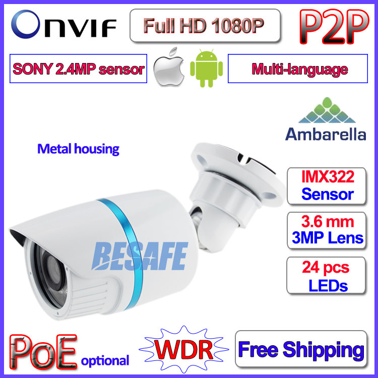 P2P 2MP Mini IP font b Camera b font Onvif Ambarella 1080P SONY IMX322 IP font