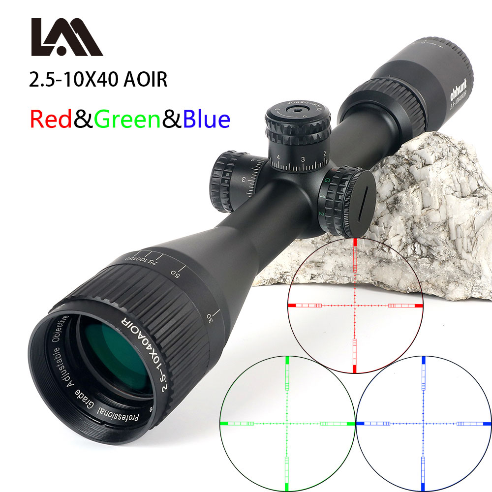 2.5-10X40 Riflescope Tactical Optical Rifle Scope Red Green And Blue Dot Sight Illuminated Retical Sight For Hunting Scope