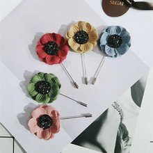 Korea Handmade Modern Rhinestone Flower Brooches Pins Badges Fashion Jewelry For Girl Woman Suits Accessories-JQGWBH012F