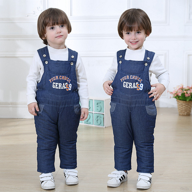 Baby Pants Girls/boys Clothes Infant Overalls Baby Winter Bib Jeans Pants Baby Jumpsuits Cotton Denim Plus Thick Velvet Trousers