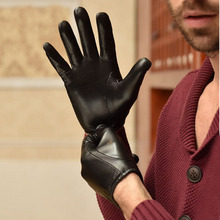 man causal simple short classic wrist first class Italy leather black gloves